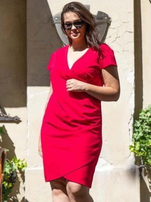 Sukienka na wesele kopertowa ołówkowa LETNIA ALANA drapowanie talii malinowa