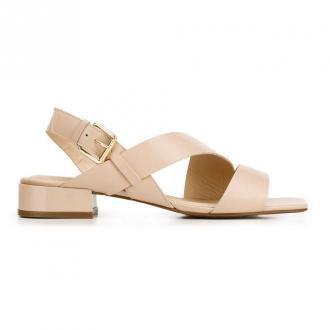 Damskie sandały skórzane z kwadratowym noskiem