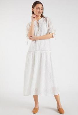Ażurowa sukienka midi