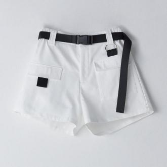 Cropp - Szorty cargo z paskiem - Biały