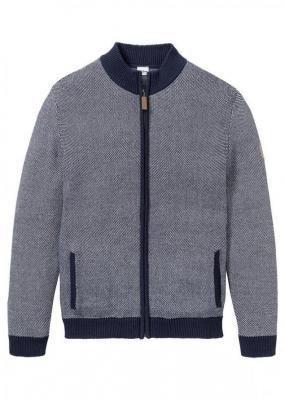 Sweter rozpinany ze stójką bonprix ciemnoniebiesko-biały