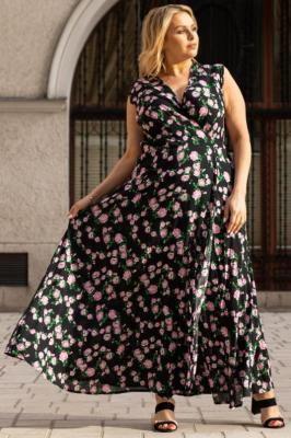 Sukienka modna z wiskozy kopertowa long FIORELLA małe różowe różyczki na czarnym tle