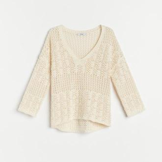 Reserved - Ażurowa bluzka z bawełny organicznej - Kremowy