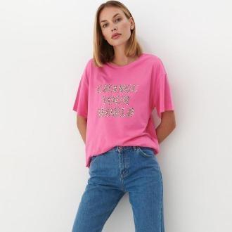Mohito - Koszulka oversize z napisem - Różowy
