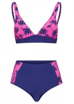 Bikini bustier (2 części) bonprix niebiesko-różowy z nadrukiem
