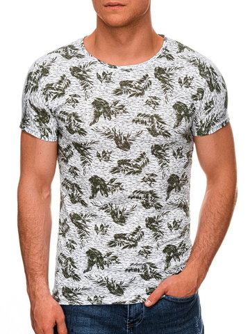 T-shirt męski z nadrukiem 1451S - zielony - S
