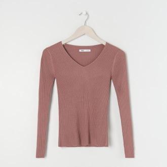 Sinsay - Prążkowany sweter - Fioletowy