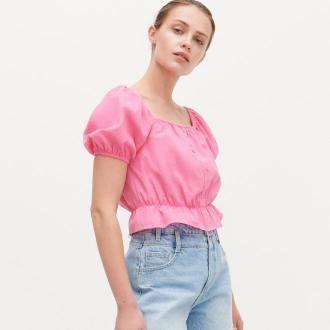Reserved - Krótka bluzka z bufiastymi rękawami - Różowy