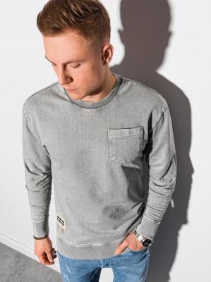 Bluza męska bez kaptura bawełniana B1173 - jasnoszara - XXL