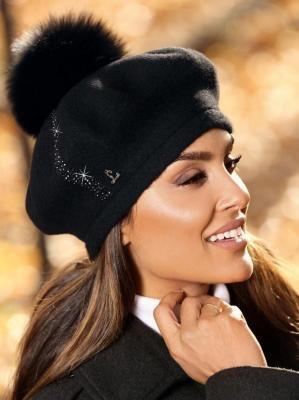 Wełniany beret ozdobiony kryształkami L'AF PONE-018