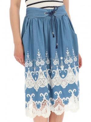 Jeansowa spódnica z koronką Desigual BLUES EX