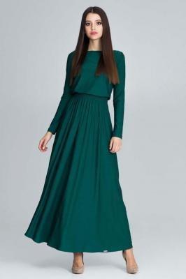 Zielona Zwiewna Sukienka Maxi z Podkreślona Talią