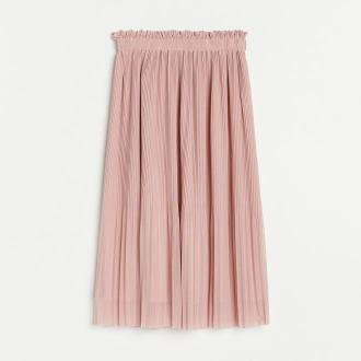 Reserved - Plisowana spódnica midi - Różowy