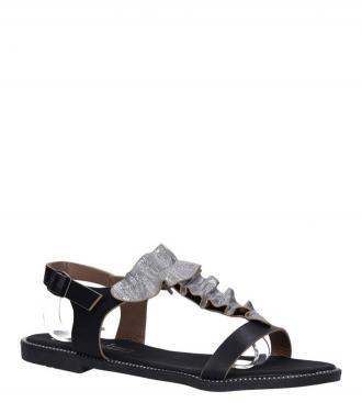 Czarne sandały z nitami i ozdobną falbanką