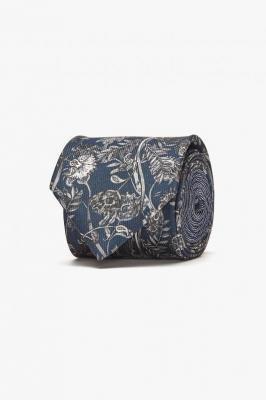 Krawat w kwiaty granatowy Winman CLASSIC 222