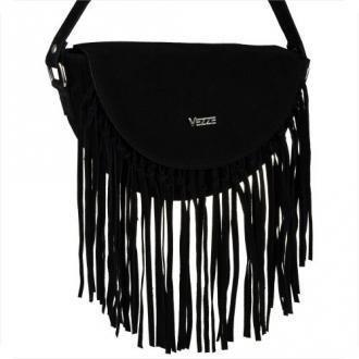 Włoska damska torebka z frędzlami zamsz naturalny czarna