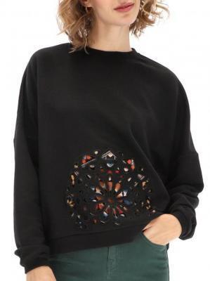 Czarna bluza z ażurową aplikacją Desigual BLACK