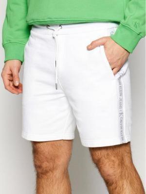 Calvin Klein Jeans Szorty sportowe J30J317377 Biały Regular Fit