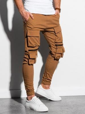 Spodnie męskie joggery P995 - camel - XXL