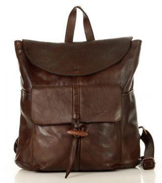 MARCO MAZZINI Unikatowy Plecak skórzany old scool genuine leather brąz caffe