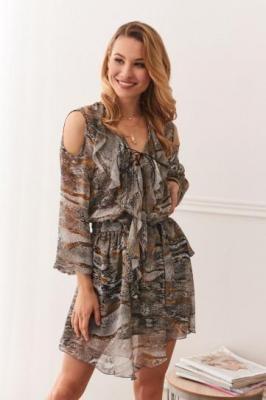 Zwiewna sukienka z wycięciami na ramionach wężowa skóra 0486
