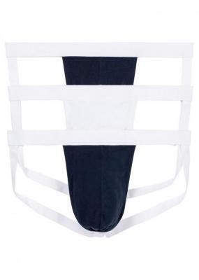 Slipy jockstrap (3 pary) bonprix ciemnoniebiesko-biały