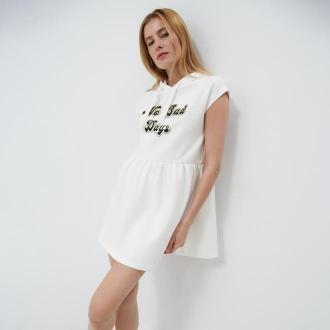 Mohito - Dresowa sukienka z kapturem - Kremowy