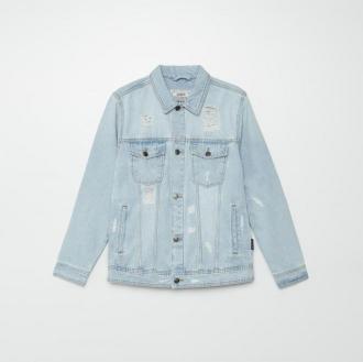 Cropp - Denimowa kurtka z efektem sprania - Niebieski