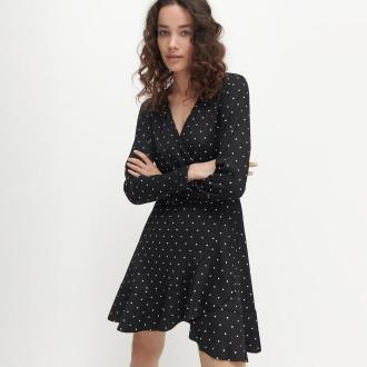 Reserved - Sukienka z kopertowym dekoltem - Czarny
