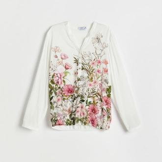 Reserved - Wzorzysta bluzka z wiskozy - Różowy