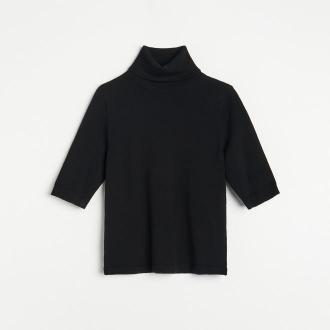 Reserved - Dopasowany sweter z golfem - Czarny