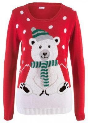 Sweter z bożonarodzeniowym motywem bonprix czerwony wzorzysty