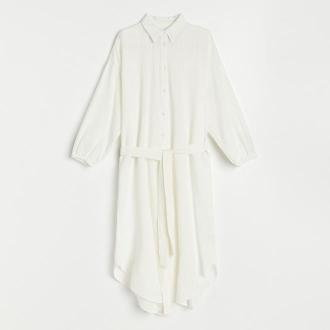 Reserved - Koszulowa sukienka oversize - Kremowy