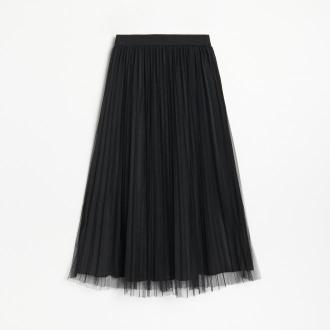 Reserved - Plisowana spódnica midi - Czarny