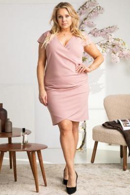 Sukienka elegancka na komunie kopertowa ołówkowa LETNIA ALANA drapowanie talii puder róż