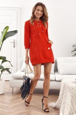 Sukienka/Tunika z wiązanym dekoltem czerwona FI600