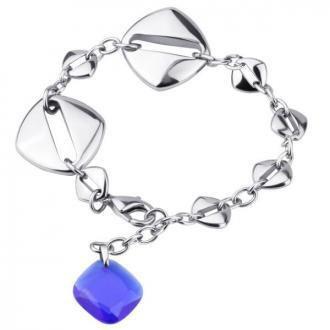 Bransoletka damska z niebieskim kamieniem szklanym