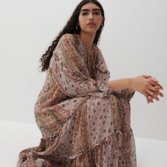 Reserved - Wzorzysta sukienka z falbaną - Wielobarwny