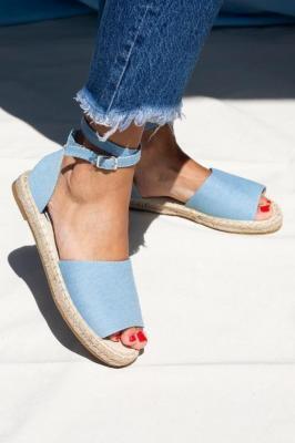Niebieskie sandały espadryle jeansowe z zakrytą piętą i paskiem wokół kostki Casu A20X5/LB