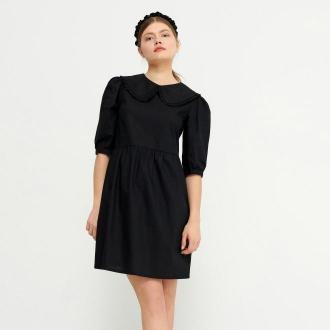 House - Bawełniana sukienka z ozdobnym kołnierzem - Czarny