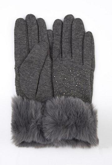 Rękawiczki z futerkiem i dżetami
