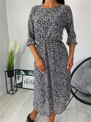Granatowa Sukienka w Drobne Kwiatki 6378-317