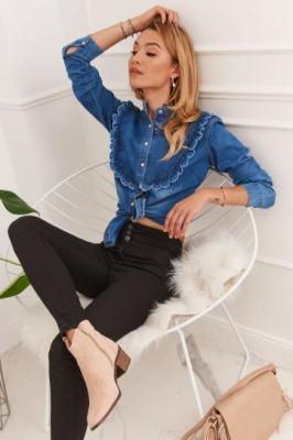 Spodnie jeansowe z podwyższonym stanem push up czarne 320