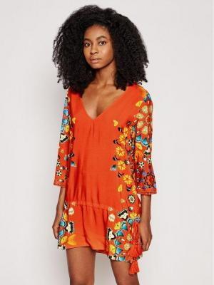 Desigual Sukienka plażowa Maui 21SWMW21 Czerwony Regular Fit