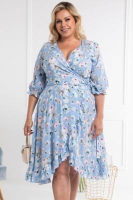 Sukienka kopertowa z falbanką wiązana ANETA błękit w kwiaty