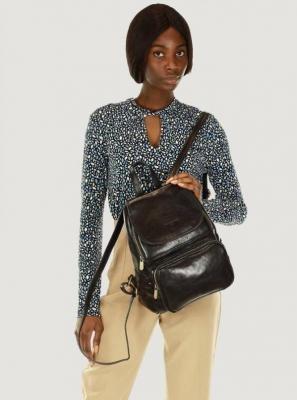 GIGI MARCO MAZZINI Elegancki plecak z kieszenią skóra naturalna leather czarny