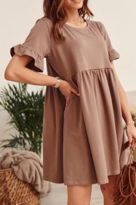 Sukienka oversize z krótkim rękawem cappuccino FK530
