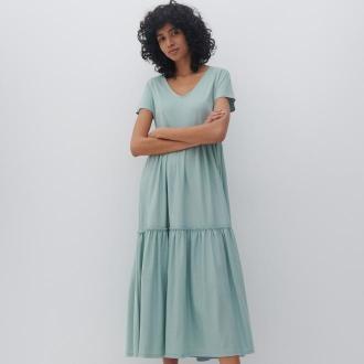 Reserved - Sukienka z falbanami - Zielony