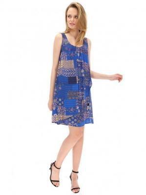 Niebieska sukienka z patchworkowym wzorem Desigual PRUNUS DULC