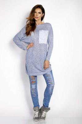 Niebieska Swetrowa Sukienka Tunika z Kieszenią